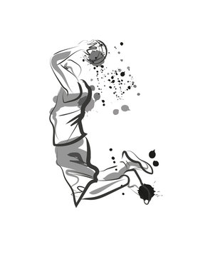 Vector ink of basketball player