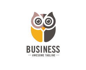 Acrylic Prints Owls cartoon Owl logo vector in modern colorful logo design, Owl icon vector isolated on white background