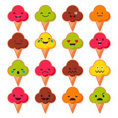 Set Emotions Ice Cream. Cute cartoon. Vector style smile icons.