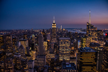 NYC by night viewed from the Observation Deck of the Rockefeller Centre