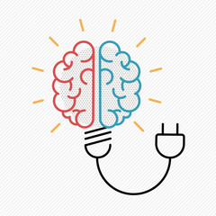 Business idea concept of brain as light bulb