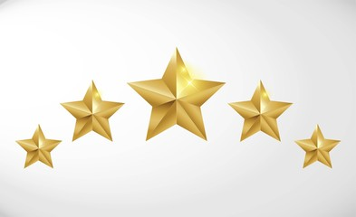 Star rating realistic gold star set vector