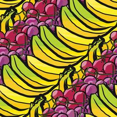 seamless pattern of bananas and cherries