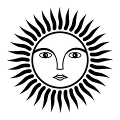 The sun is the image of man. Face in halo of rays. Black and white symbol. Vector graphics