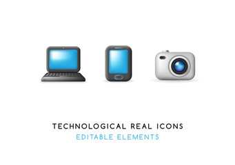 Set of Real Cute Technological Elements on White Background . Isolated Vector Illustration