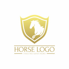 Shield Horse Logo Vector Element Symbol