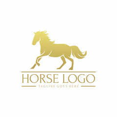 Gold Horse Logo Vector Element Symbol