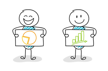 Funny stickman showing icon on a board - business concept. Vector.