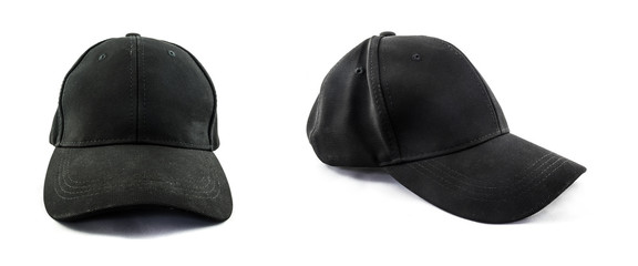 Simple black baseball cap isolated on white background