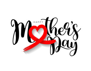 Happy Mother's Day lettering design. With red heart, brush style. Illustration isolated on white background. Love mom concept.