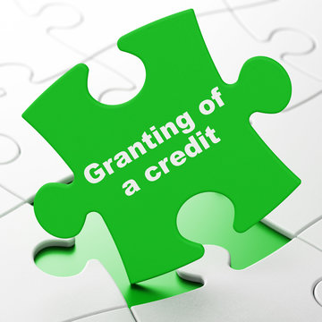 Money concept: Granting of A credit on Green puzzle pieces background, 3D rendering