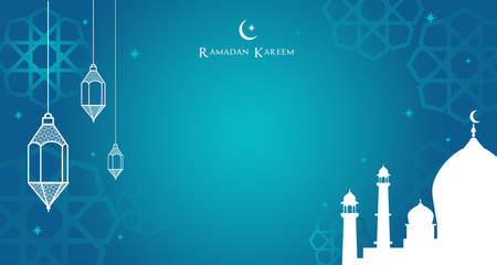 Night view of the Arabic lantern and mosque, Ramadan Kareem background Vector illustration.