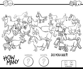 counting horses and goats game color book