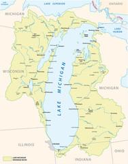 lake michigan drainage basin vector map