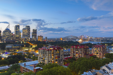 Skyline at sunset, Sydney, New South Wales, Australia