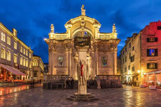 Night view of Church of St. Blaise, Dubrovnik, Croatia