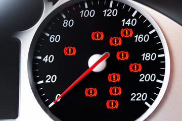 Car speedometer with indicator and warning lights