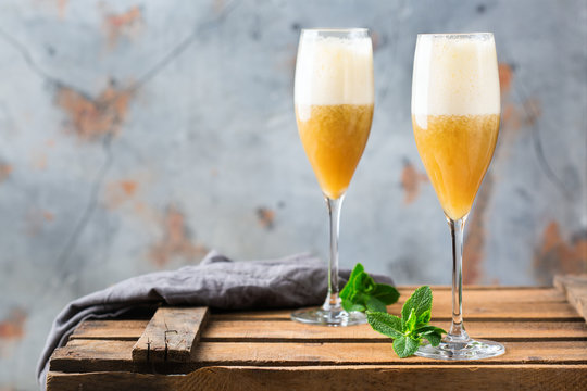American fizz cocktail with rum and champagne