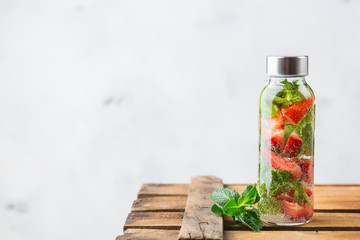 Fresh cool strawberry mint infused water detox drink