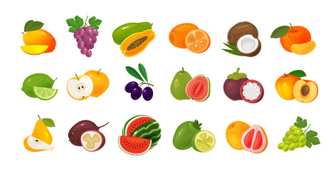 Fruits and berries, set of colored icons. Food concept. Vector illustration