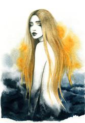 mooie vrouw. mode illustratie. aquarel schilderen