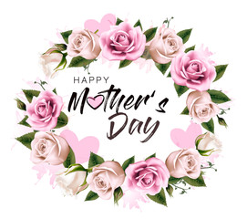 Fototapete - Happy Mother's Day background with beauty flowers and hearts. Vector.