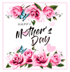 Wall Mural - Happy Mothers Day greeting background with beautiful pink roses and butterfly. Vector