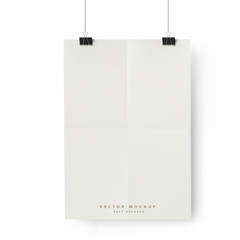 White Banner Hanging on clips. Vector folded A4 sheet of paper for poster design.