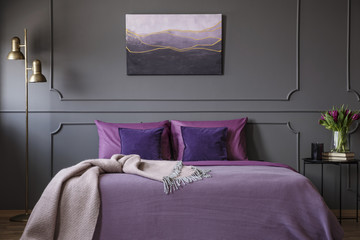 Elegant violet bedroom interior