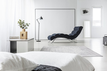 Open space with chaise lounge