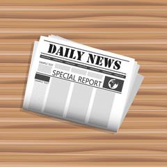 Newspaper on desk. Concept for journalism, communication, information. Flat vector illustration