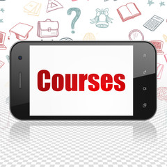 Education concept: Smartphone with  red text Courses on display,  Hand Drawn Education Icons background, 3D rendering
