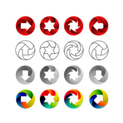 Set of signs, in the circular forms with the shadows inside. Arrows, stars, swirl in circle. Logo set, illustration