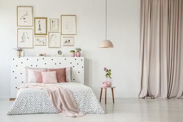 Feminine bedroom interior with gallery