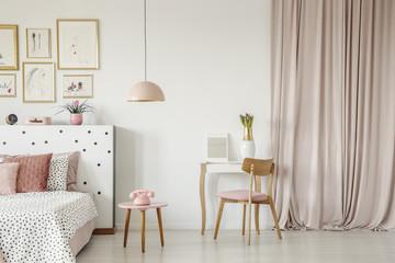 Pastel pink bedroom interior