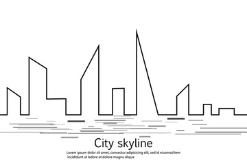 Silhouette of the city in a flat style. Modern urban landscape. Vector illustrations. City skyscrapers building office horizon.Continuous line drawing. Vector line. Geometric figures with the effect