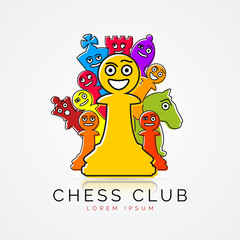 Chess pieces in funny cartoon style. Club symbol. Vector