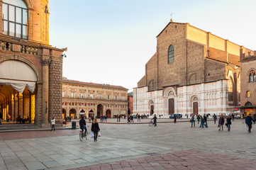 San Petronio church in the Piazza Maggiore in Bologna, Italy