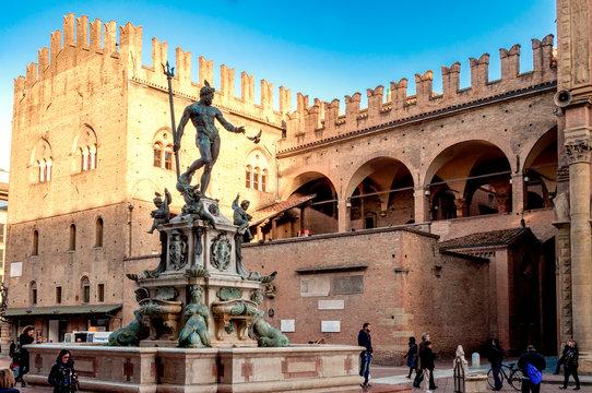 Neptune fountain in the Piazza Maggiore in Bologna, Italy
