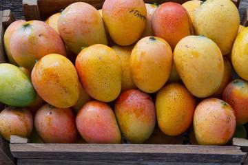 Mango fruits in basket at Indian fresh market close up