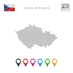 Vector Dotted Map of Czech Republic. Simple Silhouette of Czech Republic. The National Flag of Czech Republic. Map Pins