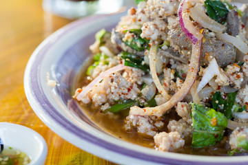 Spicy Cucumber Salad on table. Thailand food, Som Tum Taeng or cucumber salad Thai style.