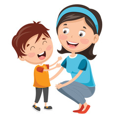 Vector Illustration Of Kid With Mother