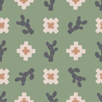vector cactus plus green seamless repeat pattern background