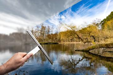 Landschaft Fenster putzen für freie Perspektive