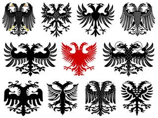 Set of heraldic german eagles