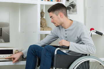 disabled young man enjoying music