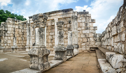The ruins of White Synagogue in Jesus Town of Capernaum, Israel