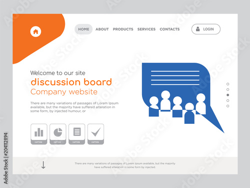 Discussion Board Landing Page Website Template Design