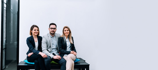 Business team photoshoot. Negative space
